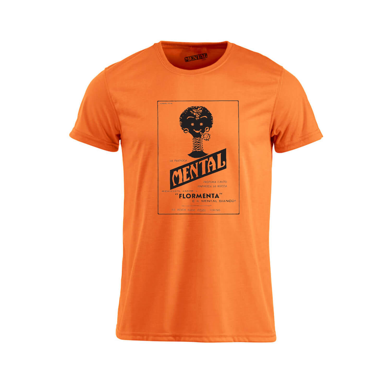 T-shirt orange Vintage Mental - size S - T-shirt
