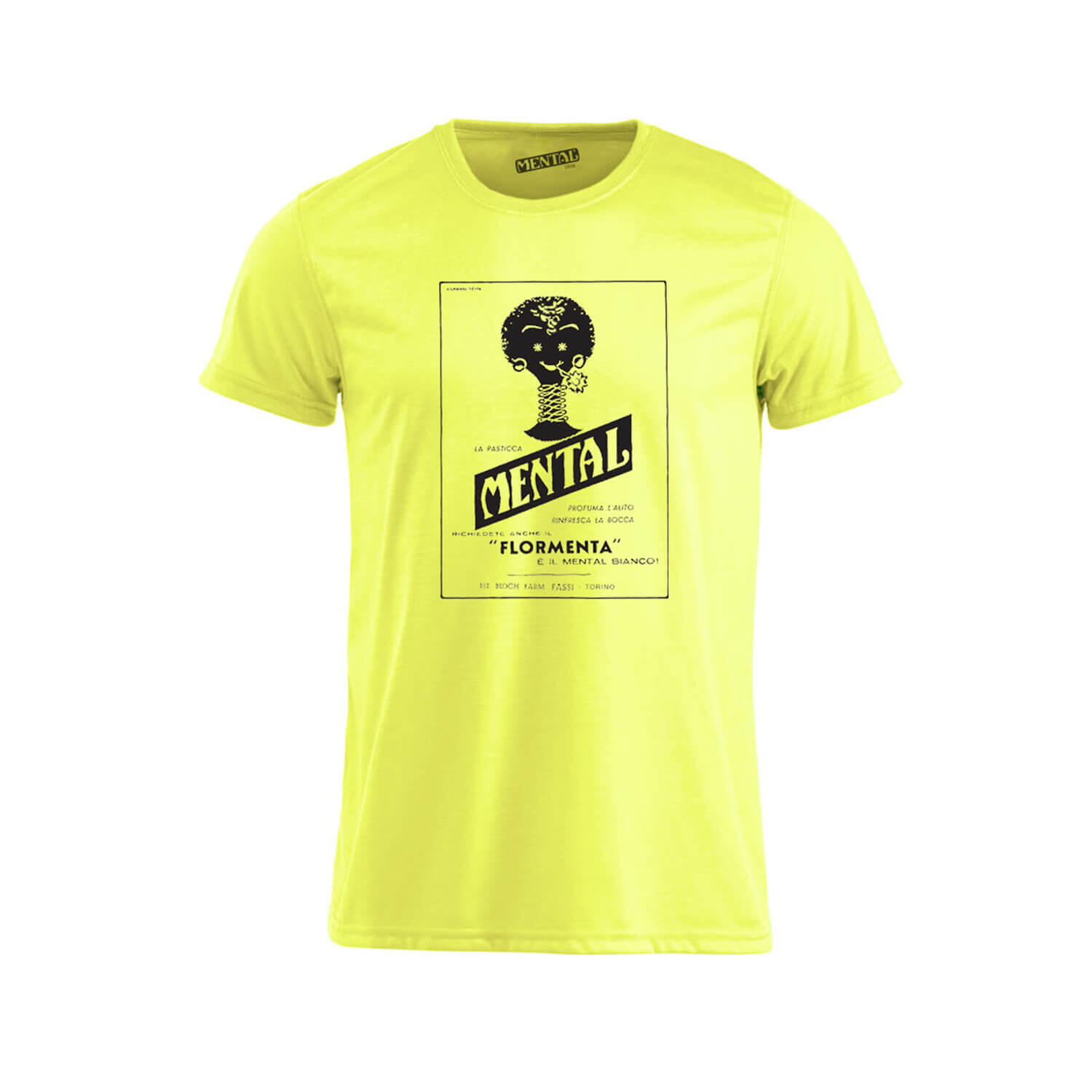 T-shirt neon yellow Vintage Mental - size XL - T-shirt