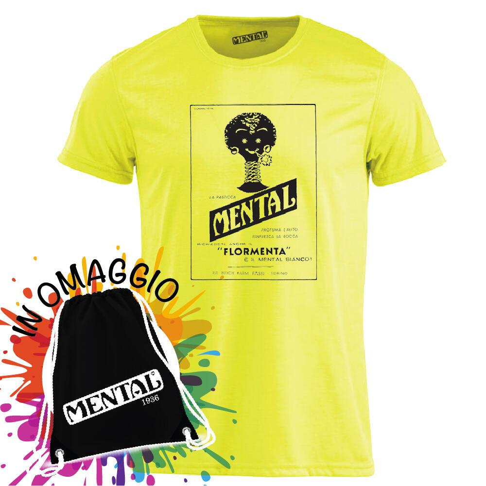 T-Shirt neon yellow Vintage Mental - size M - T-shirt