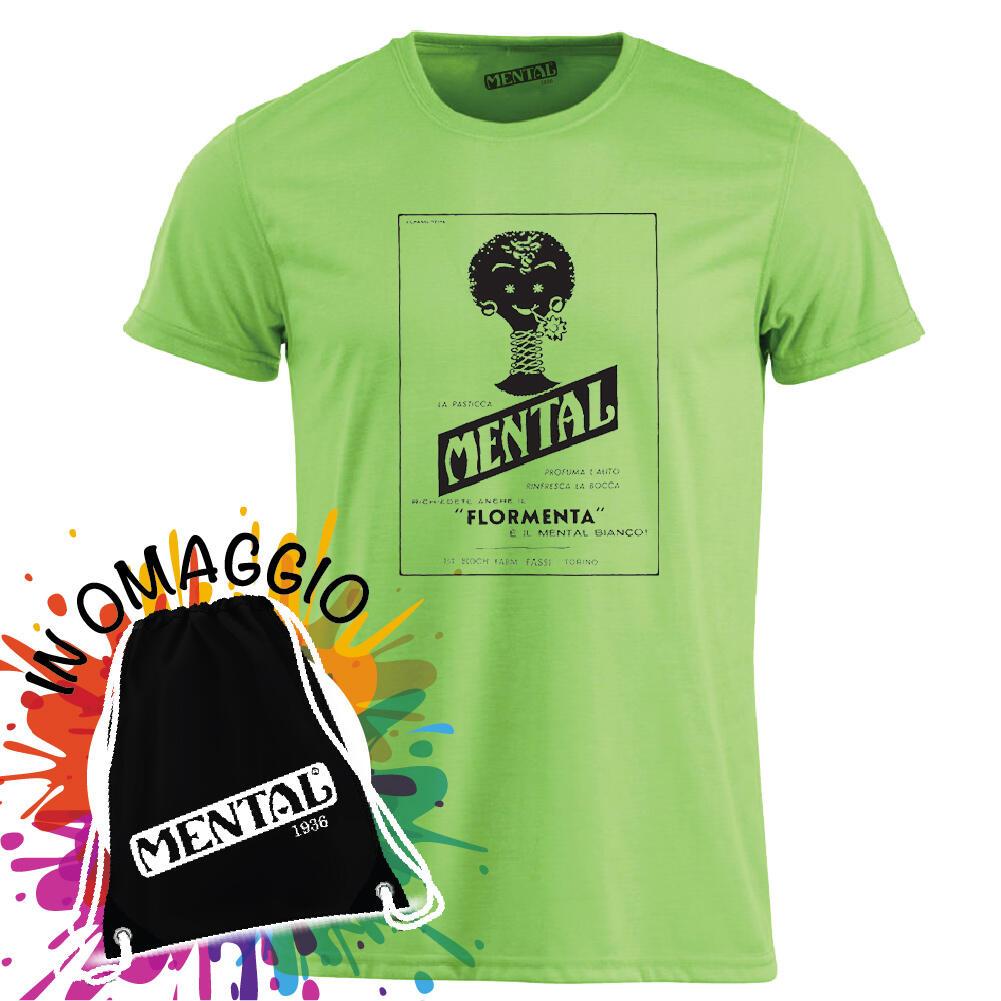 T-shirt neon green Vintage Mental - size S - T-shirt